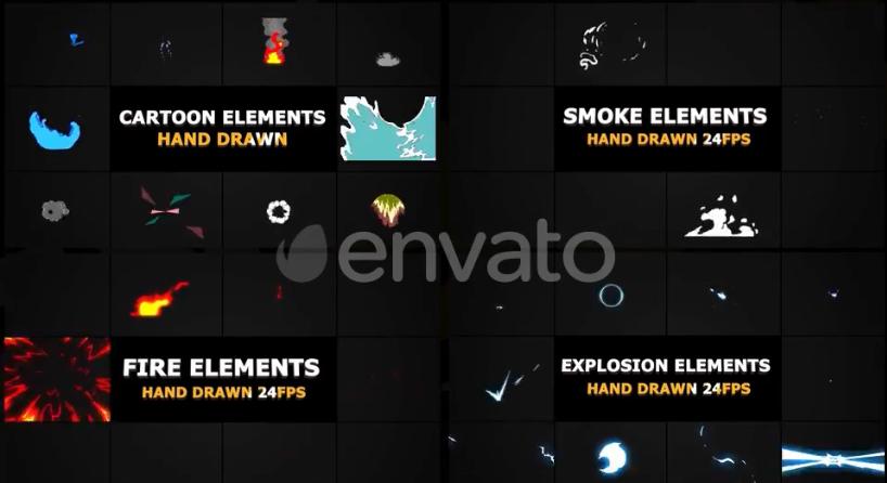 FCPX插件-10种二维卡通手绘MG烟雾火焰元素动画 Smoke And Fire