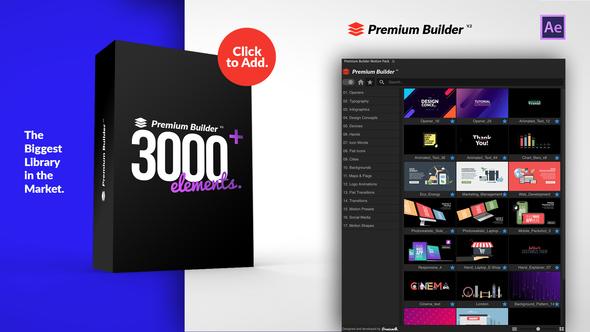 AE扩展-PremiumBuilder Motion Pack v2 包含3000+个运动图形MG元素预设包