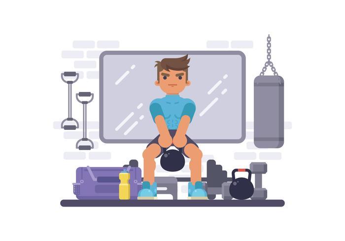 矢量图:在健身房用壶铃做训练的人