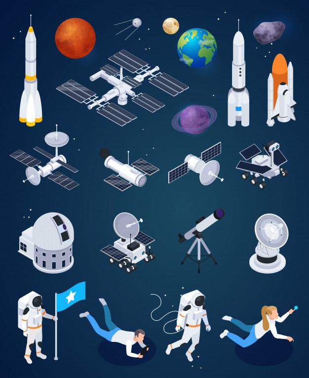一套火箭人造卫星和行星与人类太空探索图标矢量图免费矢量