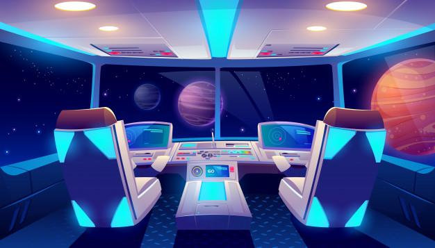 太空飞船驾驶舱内部空间和行星视图免费矢量