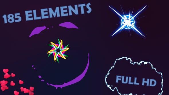 185种能量闪电爆炸烟雾线条气泡心羽毛MG图形动画元素包