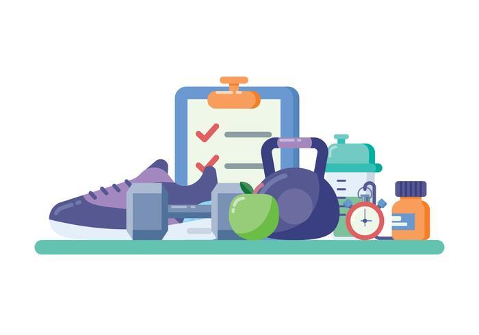 矢量图:平面设计风格的健身器材