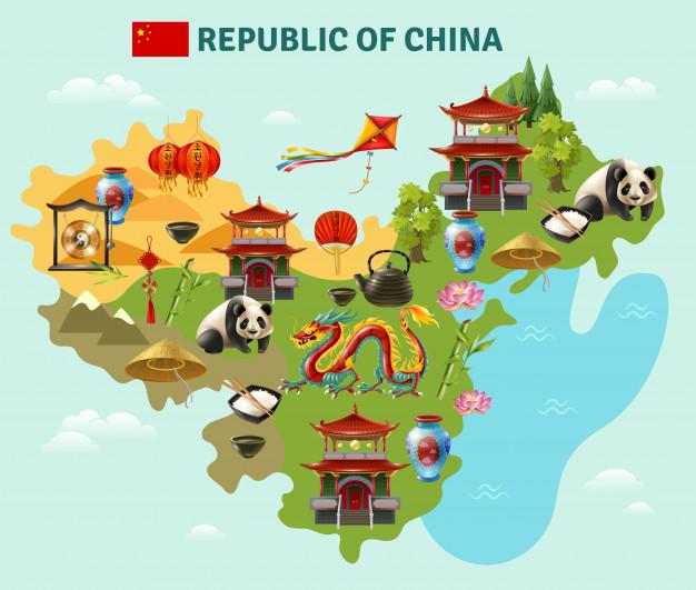 中国旅行观光地图海报免费矢量