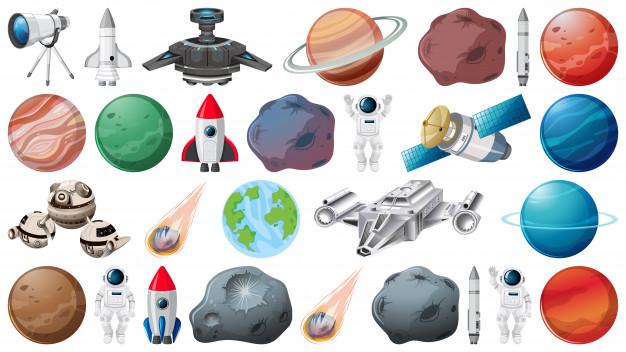 行星和空间物体免费矢量