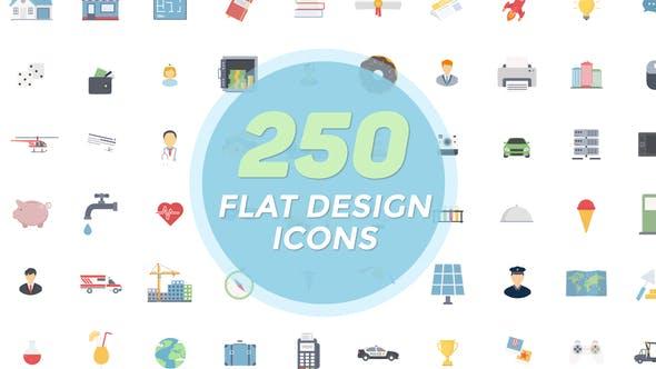 AE模板-250个扁平化二维卡通图标动画 Flat Icons